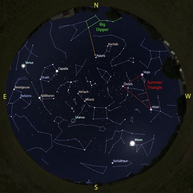 The sky at 4 a.m. from Aug. 4 to 11, accurate all week except for the changing Moon position.