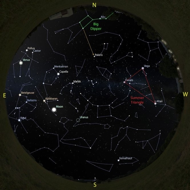 The sky at 4 a.m. from Aug. 11 to 18, accurate all week except for the changing Moon position.