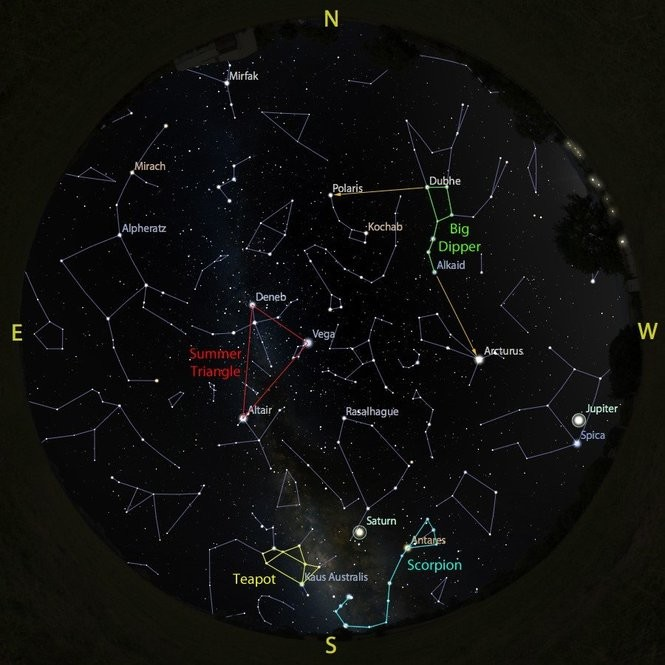 The sky at 9 p.m. from Aug. 18 to 25, accurate all week except for the changing Moon position.