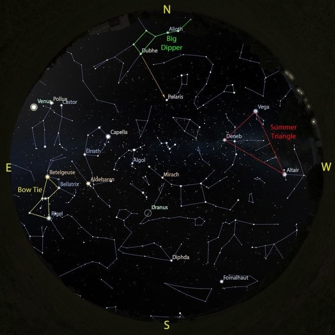 The sky at 4 a.m. from Aug. 18 to 25, accurate all week except for the changing Moon position.