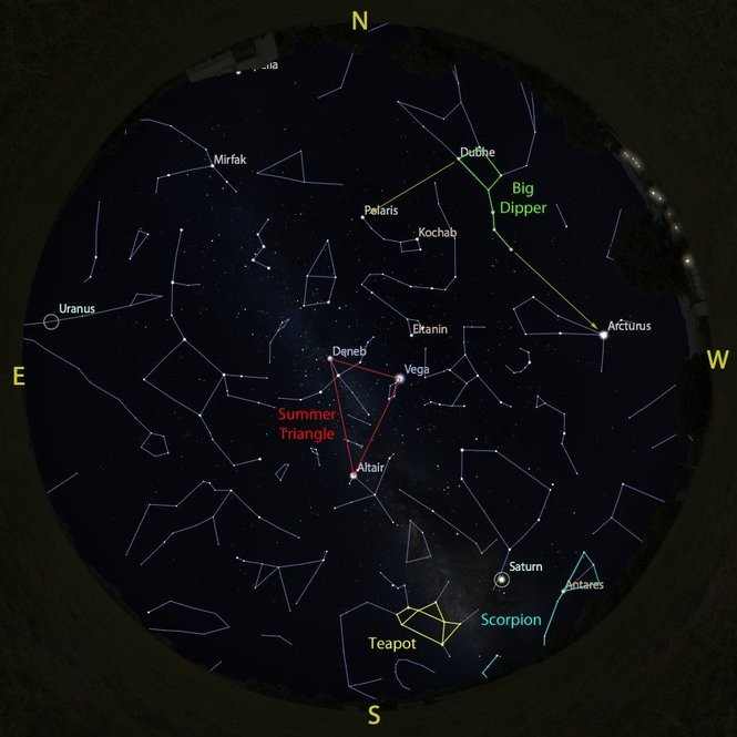 The sky at 9 p.m. on Sept. 15, accurate all month except for the changing Moon position.