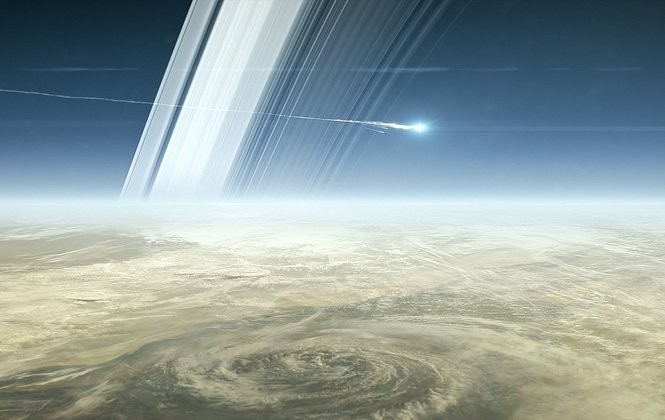"A snapshot from the animated film ""Cassini's Grand Finale."""