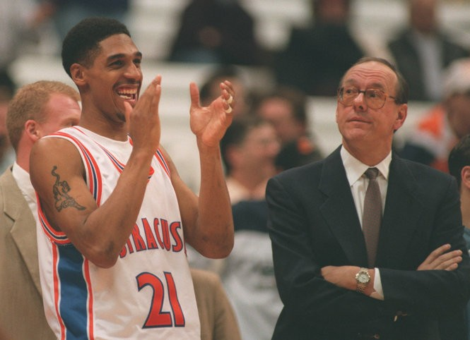 Lawrence Moten, shown here with Syracuse coach Jim Boeheim, will play in the CBT Celebrity Classic tonight.