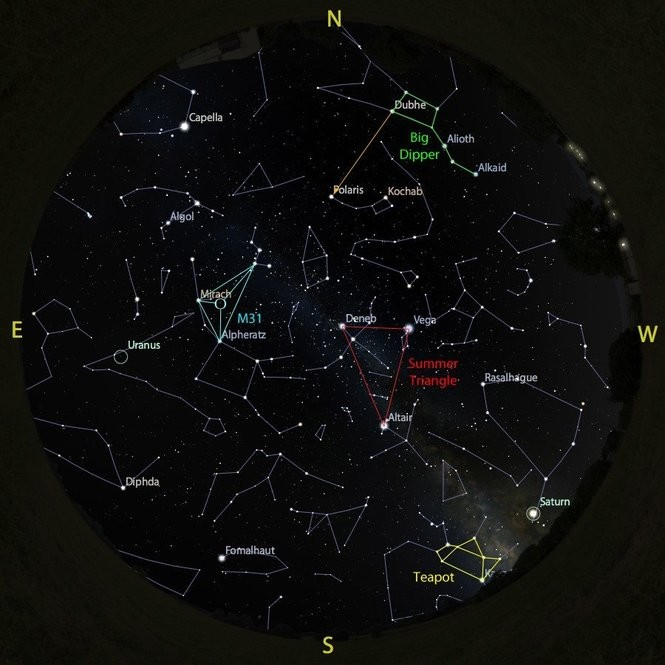 The sky at 9 p.m. on Oct. 15, accurate all month except for the changing Moon position.