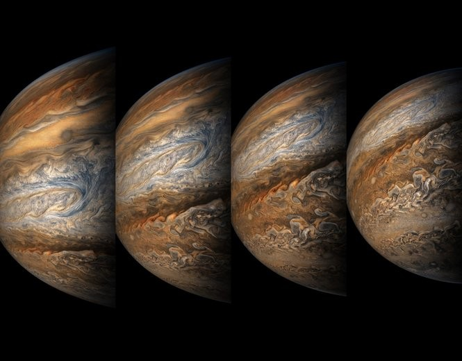 Enhanced color images of Jupiter from Juno's eight approach.