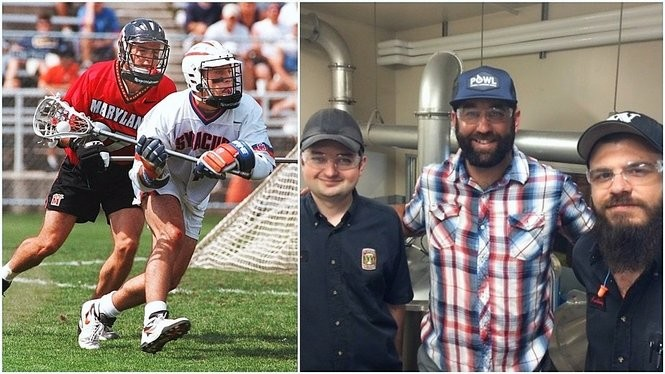 Ryan Powell in 1997, left, when he played for the Syracuse University lacrosse team, and earlier this year, center right, when he helped make a beer called Lacrosse Stick Lager at Widmer Brothers Brewery in Portland. Ore.