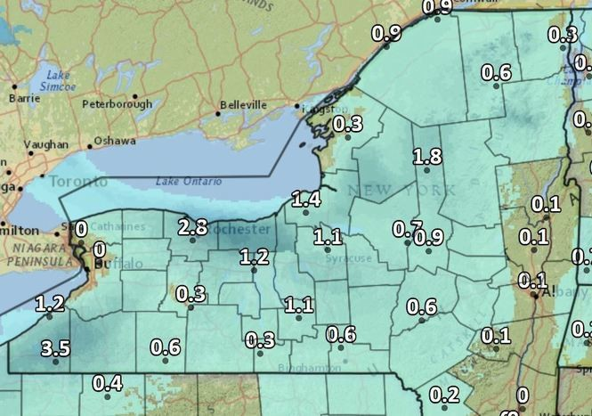 Light snow, with some pockets of up to 3 inches of lake effect, are likely Friday in Upstate New York.
