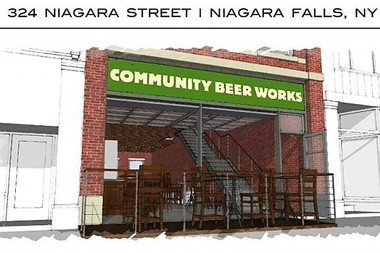 This rendering shows the initial plan for the Community Beer Works location in Niagara Falls. The plan now includes two adjacent storefronts in the 300 block of Niagara Street.