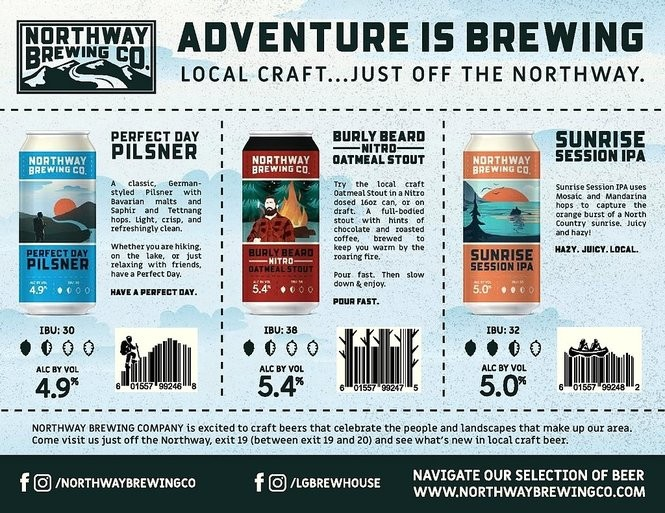 Beers from Northway Brewing Co., produced at the Lake George Brew House, Queensbury N .Y.