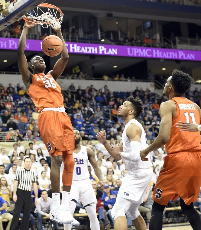 Syracuse forward Bourama Sidibe (35) with a dunk during a game against Pittsburgh on Saturday, Jan. 27, 2018, at the Petersen Events Center in Pittsburgh. Dennis Nett | dnett@syracuse.com