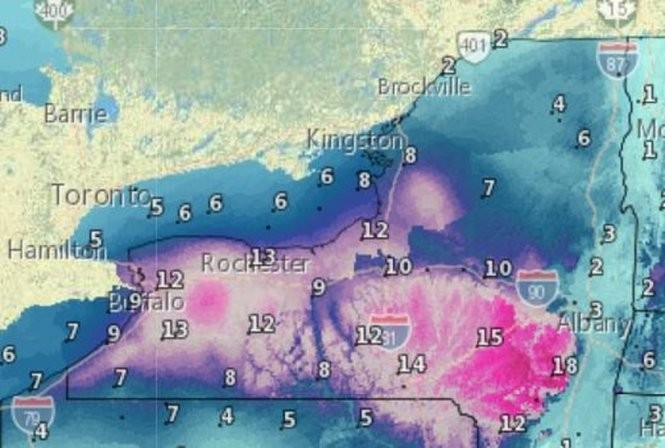 Snowfall predictions from tonight through 7 a.m. Saturday.