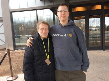 Doris Capstraw and Jason Portnoy, were the first couple of people in line to get into Point Place Casino when it opens at 10 a.m. Thursday.