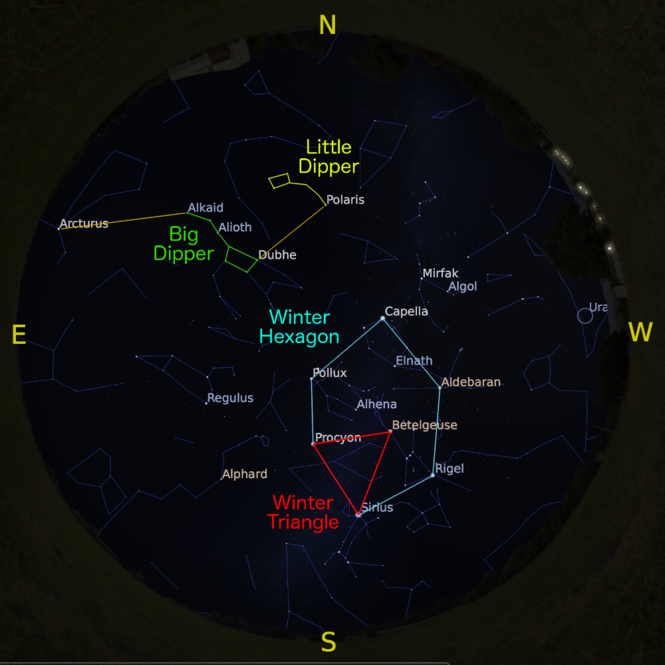 The sky at 9 p.m. on Mar. 15, accurate all month except for the changing Moon position.