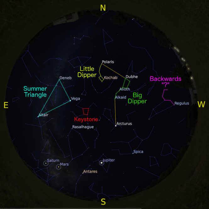 The sky at 5 a.m. on Mar. 15, accurate all month except for the changing Moon position.