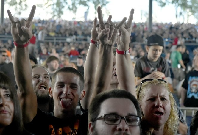 Fans enjoy Disturbed and Breaking Benjamin at the Lakeview Amphitheater in Geddes, N.Y., Saturday July 9, 2016.