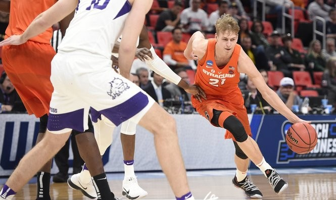 Syracuse forward Marek Dolezaj (21) during an NCAA Tournament first-round game against TCU on Friday, March 16, 2018, at Little Caesars Arena in Detroit