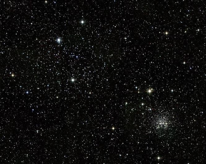M35, off Castor's foot and as wide as the full Moon. The smaller, denser cluster at lower-right is NGC 2158. .