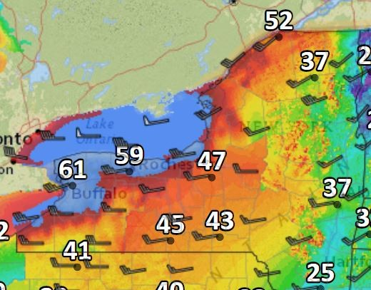 Wind gusts could top 60 mph Wednesday afternoon in Upstate New York.
