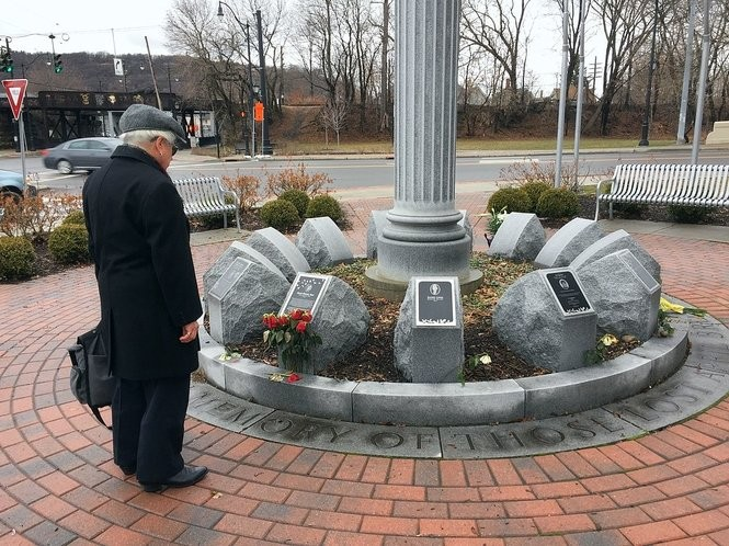 The memorial for the 13 victims of the American Civic Association shooting in Binghamton.
