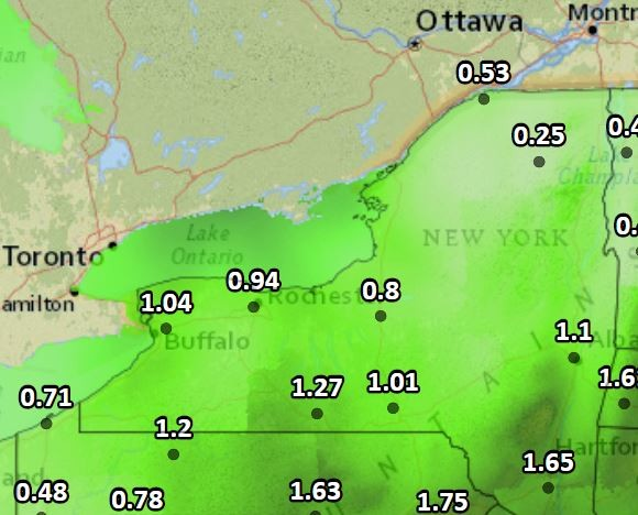 Estimated rainfall in Upstate New York today and Tuesday.