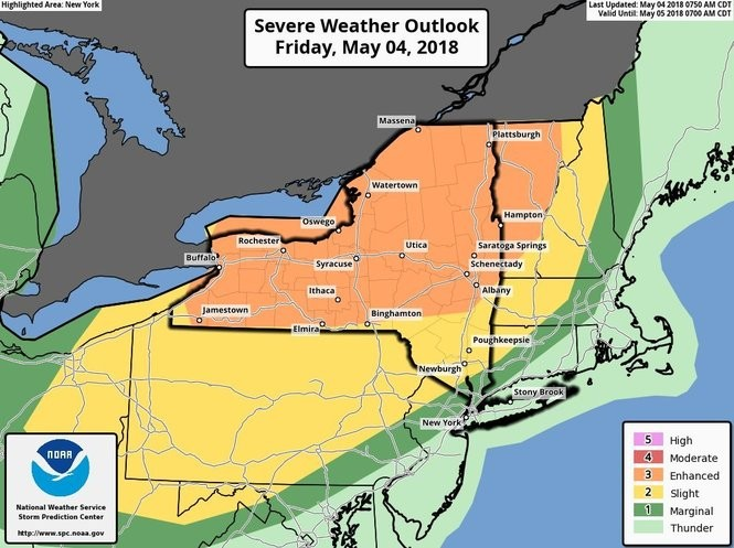 There's a 30 percent chance of severe thunderstorms in Upstate New York today.