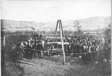 "The Cardiff Giant is removed from the ground on ""Stubb"" Newell's farm outside Syracuse, N.Y."