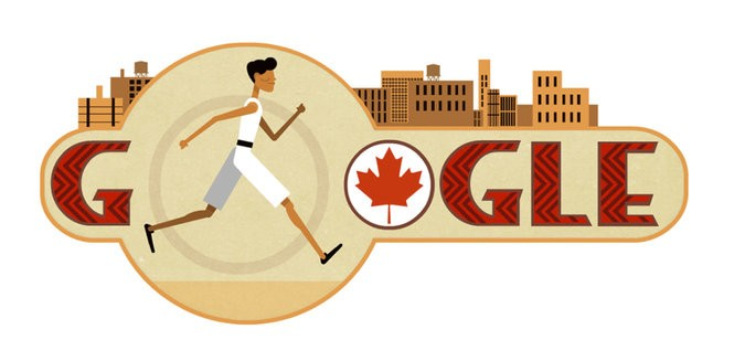 This screenshot from Google.com shows a Google Doodle, a modified version of the search engine's logo, depicting Onondaga Nation member Tom Longboat running in a marathon.