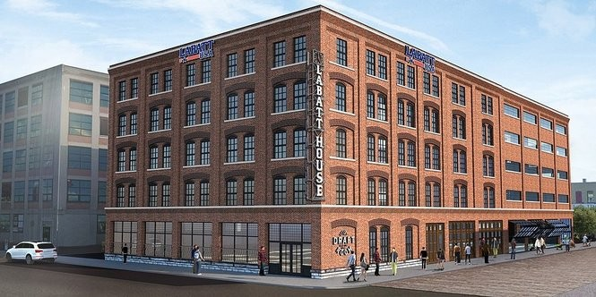 Rendering of Labatt House, which will include a Labatt pilot brewery, restaurant and apartments, at 79 Perry St. in downtown Buffalo's Cobblestone District. It's scheduled to open in November 2018.