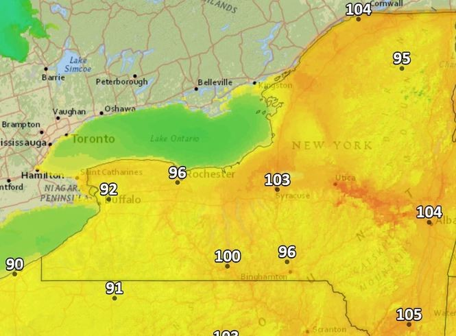The heat index will exceed 100 degrees this afternoon in Upstate New York.