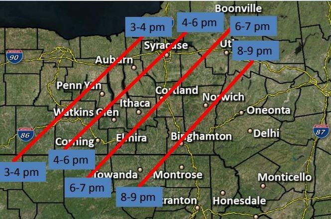 Estimated timing of scattered thunderstorms today. (National Weather Service)