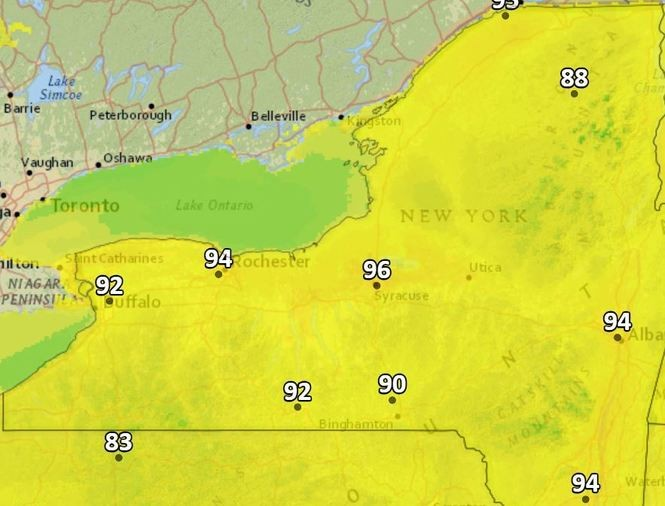 The heat index could reach into the mid 90s on Monday in Upstate New York.