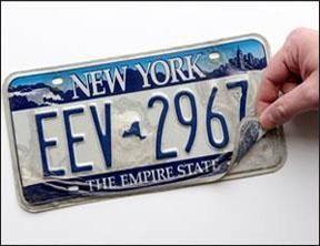 Example of peeling license plate