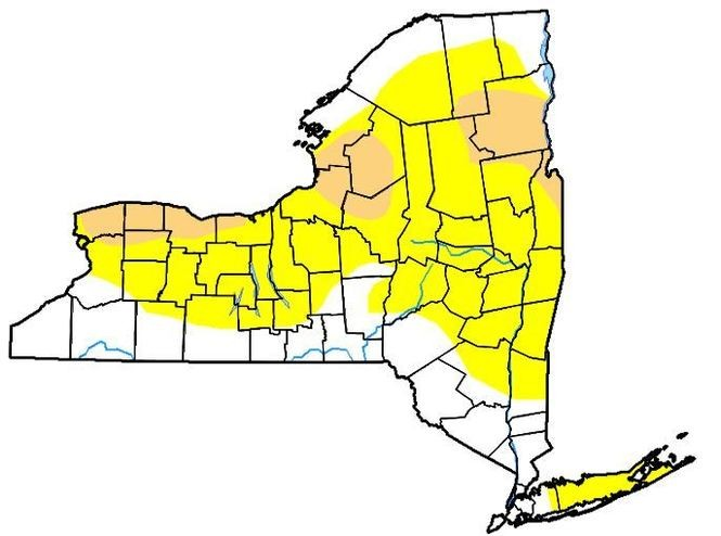 About 13 percent of New York state is in a moderate drought (tan), while just over half the state is abnormally dry (yellow).