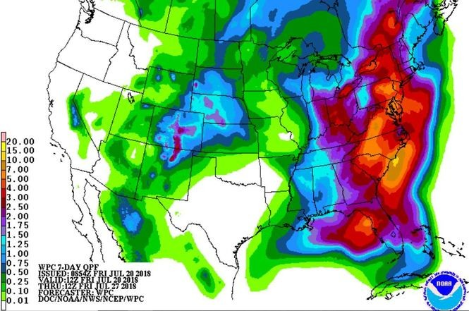 Several inches of rain could fall across much of the eastern U.S. in the next seven days.