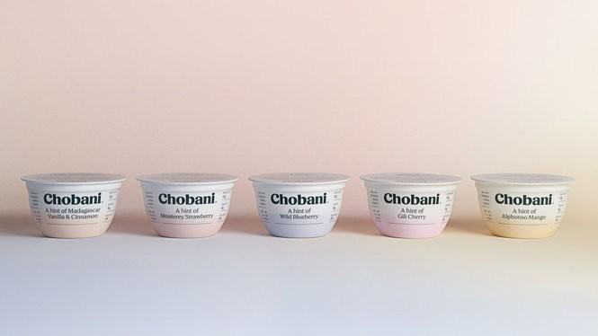 "Chobani's new ""Hint Of"" line of lower-sugar Greek yogurt comes in a variety of flavors."
