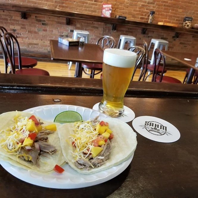 The pineapple-and-IPA roasted pork tacos at Sahm Brewing Co., 203 S. Salina St. in Syracuse.