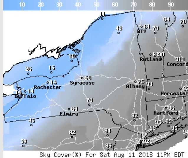 The percentage of the sky covered by clouds at 11 p.m. Saturday will be highest in eastern New York.