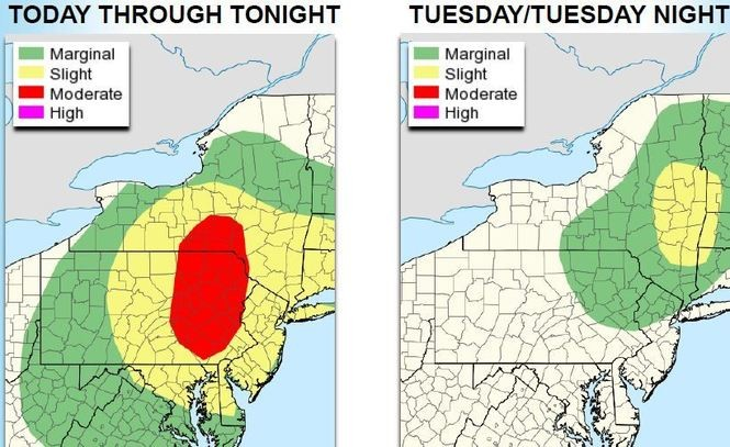 The southern half of New York state, which has had heavy rains since early July, is at highest risk for flash floods today and Tuesday.