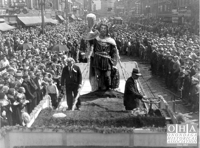 On May 14, 1932, Syracuse was home to an enormous anti-prohibition parade and protest. The 11-foot tall statue of Gambrinus, mythical patron saint of beer who was also the figurehead of Haberle Brewery, was carried on the back of a railroad car in front of one of the largest crowds to assemble in downtown Syracuse. The statue is now at the Onondaga Historical Association museum