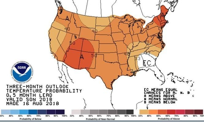 Nearly all of the continental U.S. is likely to have a warm fall this year.