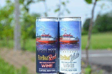 Fire Boat Red and Fire Boat White from Coyote Moon Vineyards in Clayton, N.Y. were the first in Upstate New York to come in cans.