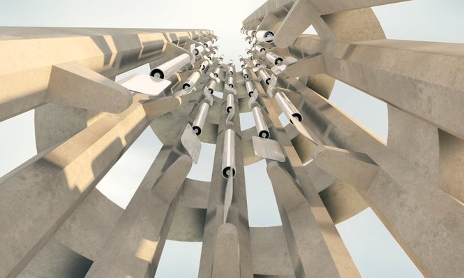 An artist's rendering of the 40 wind chimes