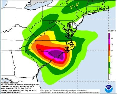 Upstate New York could get up to 4 inches of rain from the remnants of Hurricane Florence Monday through Wednesday.