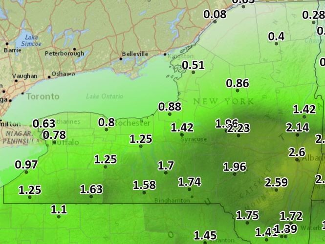 More than 2 inches of rain could fall in parts of Upstate New York Monday night and Tuesday.