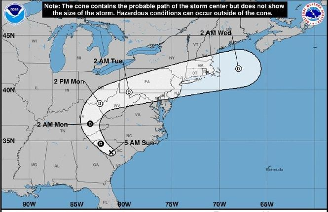 The projected path of Tropical Storm Florence.