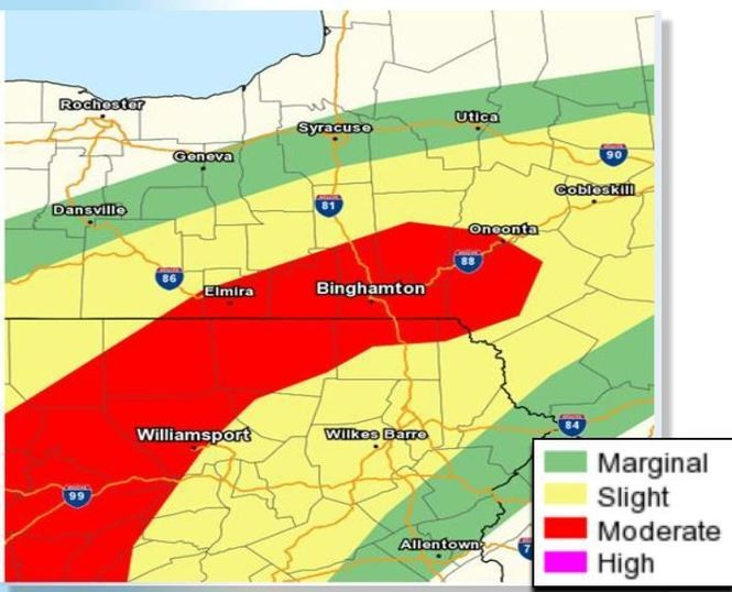 The risk of flash flooding is greatest in the area outlined in red. Areas in yellow are less likely to have flooding, and green has even lower odds.