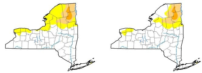 The portion of Upstate New York considered abnormally dry (yellow) increased this week (left) over last week, while the areas of moderate drought (tan) and severe drought (orange) remained the same.