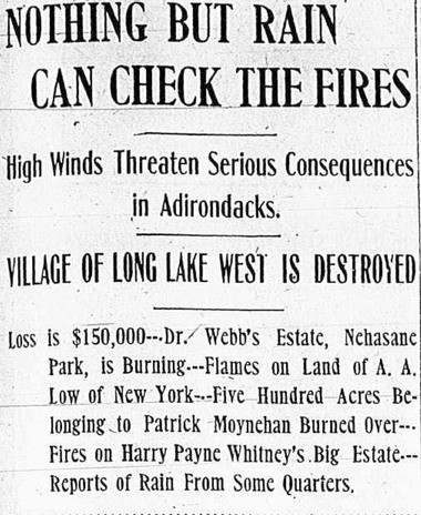 Headlines from the front page of the Amsterdam Evening Recorder on Sept. 28, 1908 tell the story of the 1908 forest fires which devastated parts of the Adirondacks that autumn.