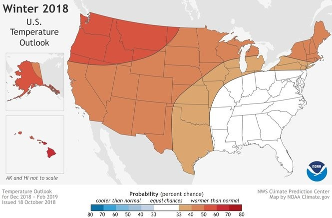 All of the U.S. is expected to be warmer than normal or normal this winter.