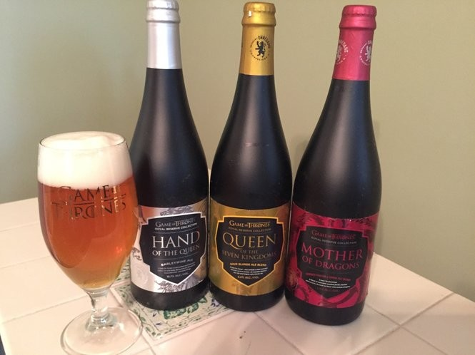 "Three beers in the Royal Reserve Collection, part of the Brewery Ommegang/HBO ""Game of Thrones"" series of beers. They are Hand of the Queen, Queen of the Seven Kingdoms and Mother of Dragons."